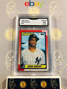 1990-Topps-Deion-Sanders-61-RC-Yankees-10-GEM-MINT-GMA-Graded-Baseball-Card