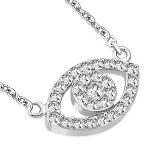 925-Sterling-Silver-White-Crystals-CZ-Womens-Evil-Eye-Hamsa-Pendant-Necklace