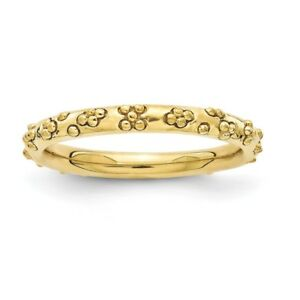 3c74e7e47d18a Details about Sterling Silver Stackable Expressions Gold Plated Textured  Ring Sizes 5 to 10