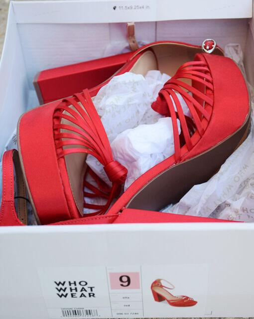 b1895d92f29c2 Women's Ella Satin Kot Platform Heeled PUMPS Who What Wear Red Size ...
