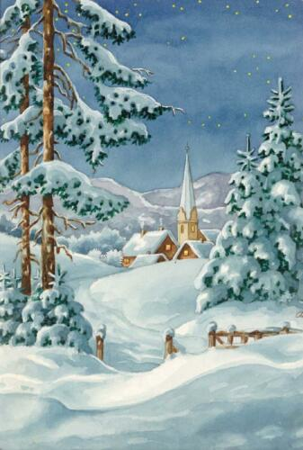 Grafitec Printed Tapestry//Needlepoint Canvas Snowy Chapel