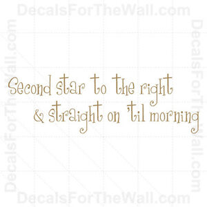 Second Star to the Right Peter Pan Disney Wall Decal Vinyl ...