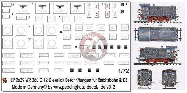 Peddinghaus Decals 1//87 2177 WR 360 Diesellok  C 12 Beschriftungen für Reichsbah