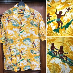 Vintage-1940-039-s-Cartoon-Surf-Eingeborenen-Muster-Rayon-Hawaii-Shirt-Original-L
