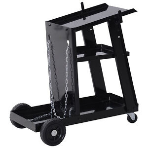 3-Tier-Welding-Cart-Welder-Trolley-for-Tanks-Gas-Bottles-Safety-Chain-Black