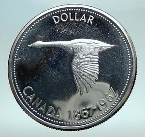 1967-CANADA-CANADIAN-Confederation-Founding-with-Goose-Silver-Dollar-Coin-i82522