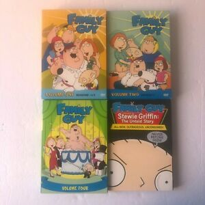 FAMILY-GUY-Lot-Volumes-1-2-4-amp-Stewie-Griffen-Untold-story-DVD-Box-Sets-EUC