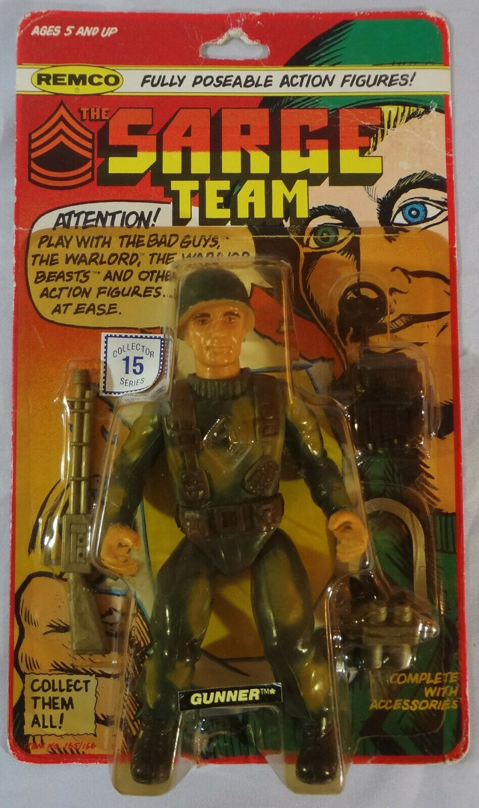 1982 Vintage REMCO Sarge squadra & Bad Guys GUNNER Army azione cifra 5.5 MIP