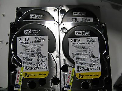 """Lot of FOUR WD RE4-GP, WD2002FYPS 2TB SATA /64mb cache HDD 3.5"""" Enterprise HDDs"""