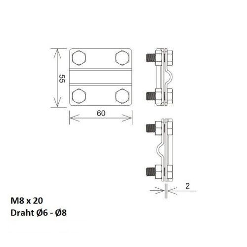 Kreuzklemme Kreuzverbinder Klemme Kreuzstücke 2-teilig Edelstahl V2A Band max 30