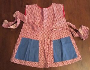 Vintage Full Apron Vintage Fabric Feedback Look Red White Blue Country Accent