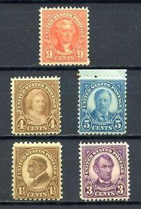 Scott # 633, 635-637 & 641-Lot de cinq ancienne Classique timbres-inutilisées-Original Gum-neuf sans charnière