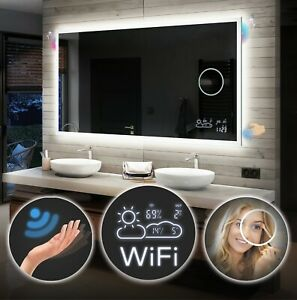 Led Illuminated Bathroom Mirror Sensor Weather Station