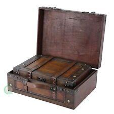 Wooden Vintage Suitcase Chest Storage Box Trunk Train Case Retro Antique Luggage