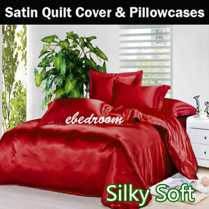 WHITE 120gsm Luxury Satin Quilt Cover Pillowcase Set(no sheets SB//DB//QB//KB