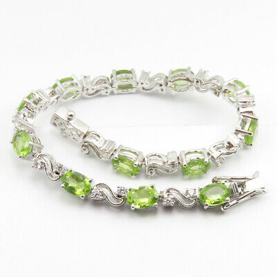"""Jewelry & Watches Engagement & Wedding Adroit 925 Stamped Natural Peridot & Cz Solid Silver 7.7"""" Inches Bracelet Free Gift Box By Scientific Process"""