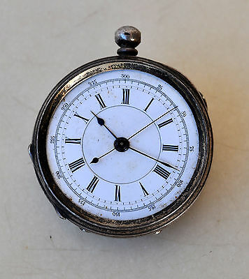 Antique 935 Sterling Silver Pocket Watch 0-300 Chrono Dial Swiss Made Antique Pocket Watches Bright Rare B&co