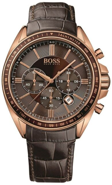 NEW HUGO BOSS 1513093 MENS ROSE GOLD DRIVERS SPORTS WATCH - 2 YEARS WARRANTY