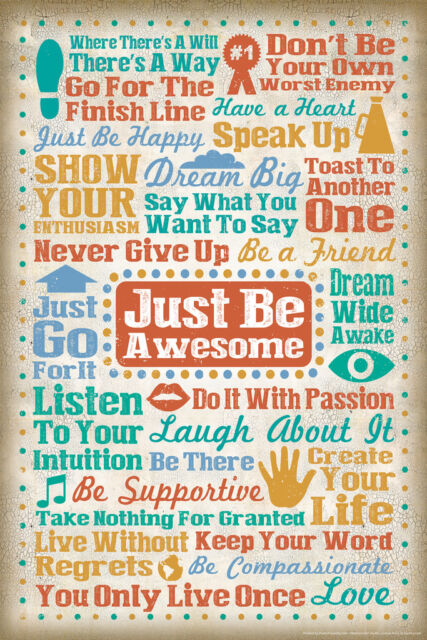 Just Be Awesome Inspirational Words Motivational Art Print Poster - 12x18