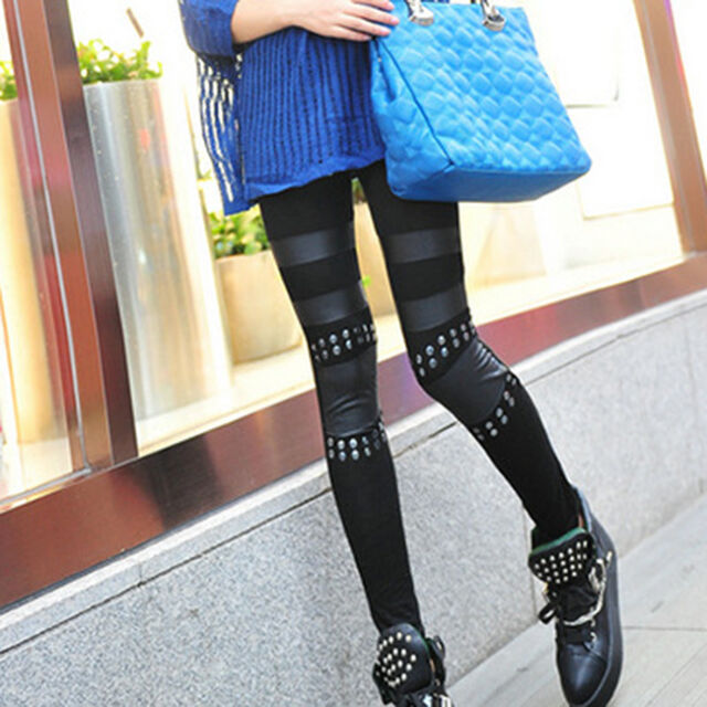 New Women Skinny Leggings Faux Leather Jeggings Pencil Pants Punk Rivet Trousers
