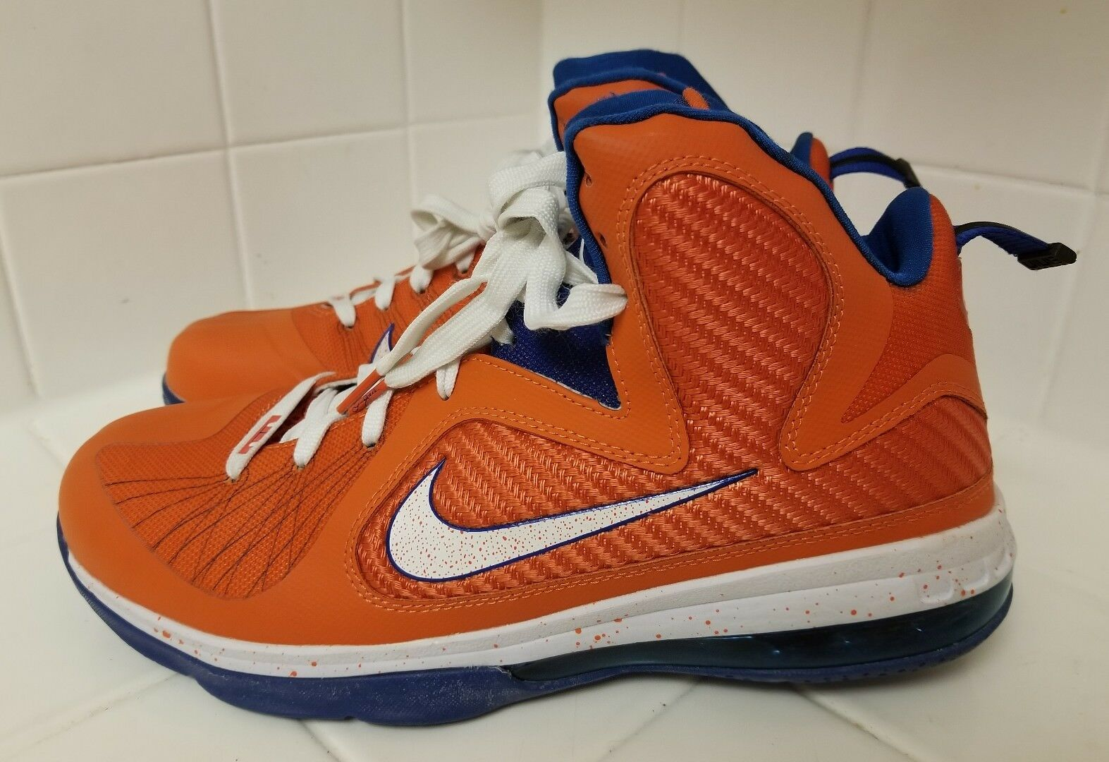 Rara Uomo nike lebron 9 9 lebron swingman scarpa arancione / bianco / blu basket numero 10 4f1663