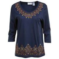 Alfred Dunner Womens Petite Top El Dorado Geo Embellished Navy Size Ps