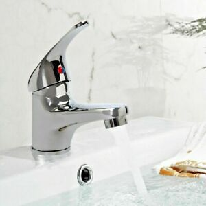 Modern-Bathroom-Taps-Basin-Sink-Mono-Mixer-Chrome-Cloakroom-Tap-Fixing-Kit-UK
