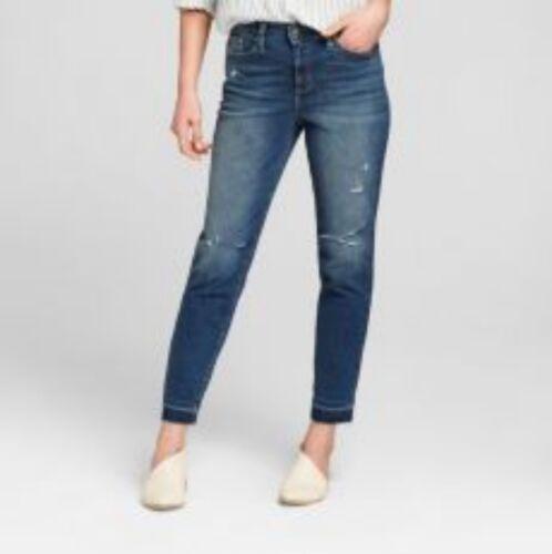 Womens High-Rise Released Hem Straight Jeans Universal Thread Dark Wash
