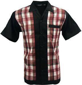 Rockabilly-Fashions-Retro-Vintage-Bowling-1950-1960-Men-039-s-Shirt-Black-Burgundy
