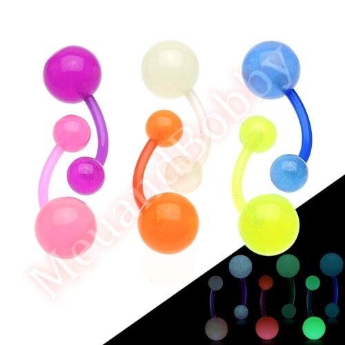 Flexible Glow In The Dark Ball Belly Navel Bar Ring CHOOSE SINGLE OR BULK PACK