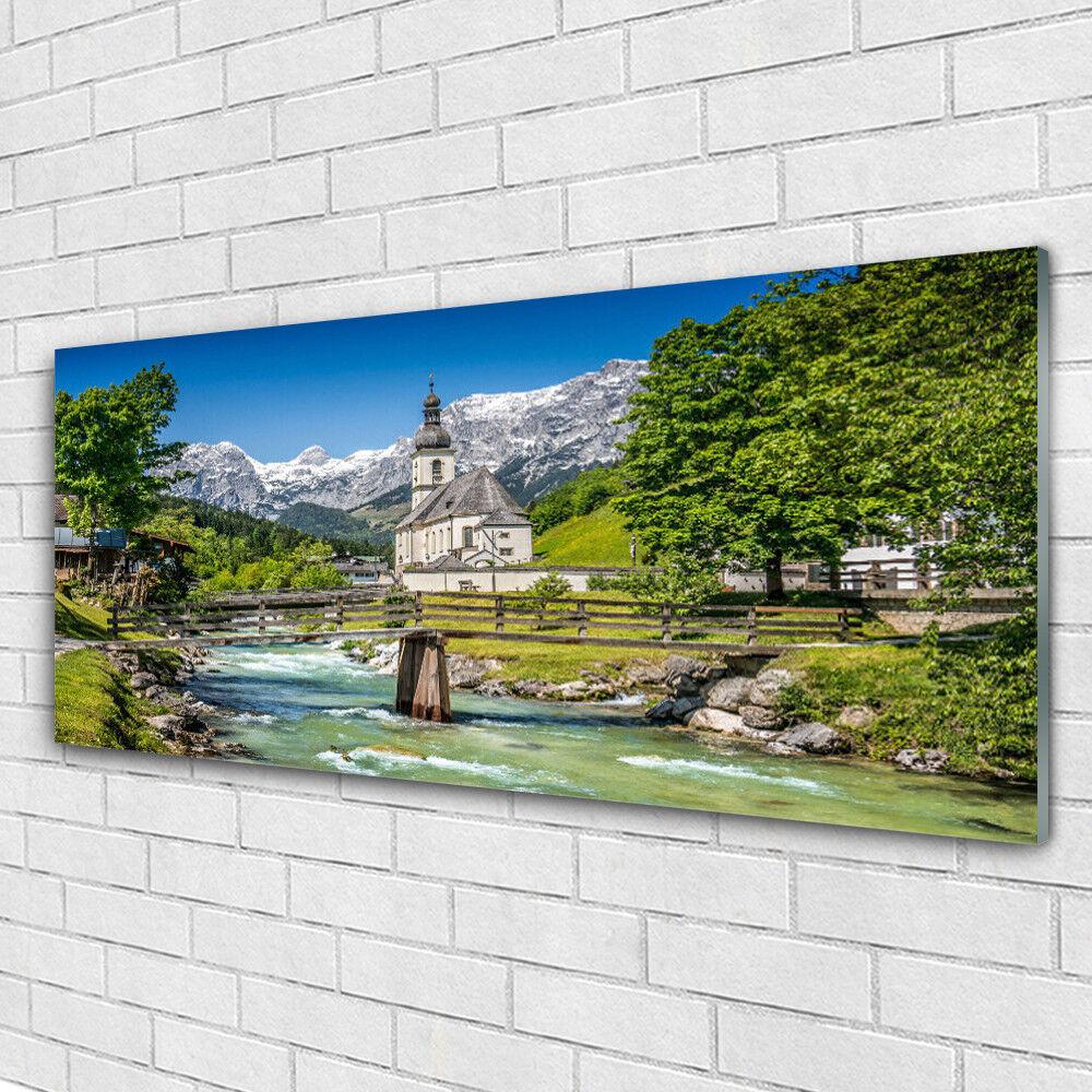 Tableau murale Impression sous verre 125x50 Nature Eglise Pont Lac