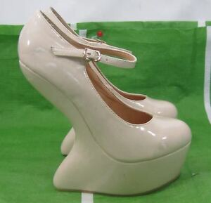 new-beige-6-5-034-High-Wedge-Heel-2-034-Platform-Ankle-Strap-Sexy-Shoes-Size-7