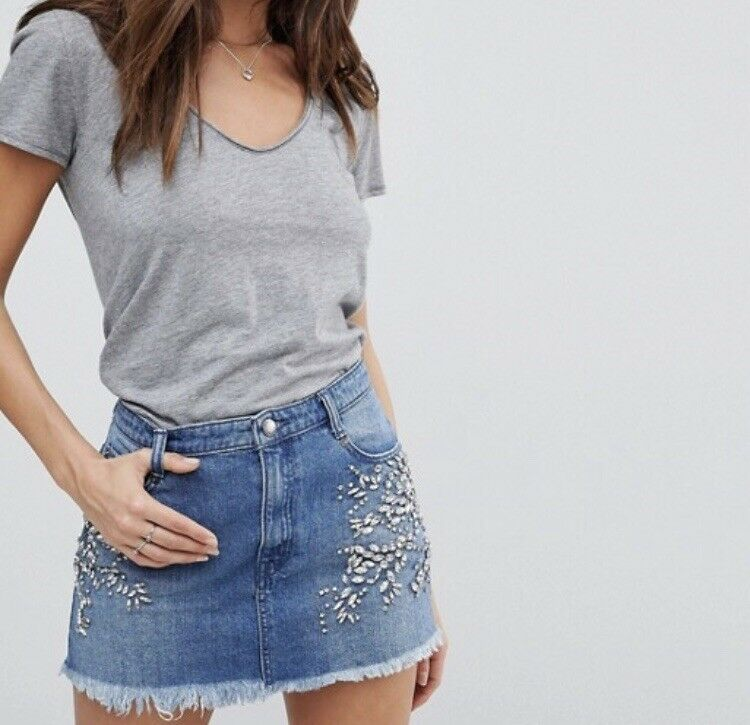 FREE PEOPLE Embellished Denim Skirt - Size 10 NWT