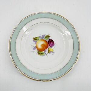 KPM-Vintage-Set-of-2-Porcelain-Peach-Fruit-Scene-Plates-8-034-Green-Gray-Band