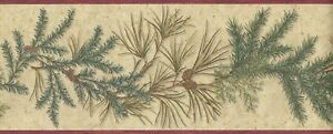Wallpaper-Border-Pine-Cone-With-Evergreen-Pine-Needles-Conifer-Red-Trim-on-Tan