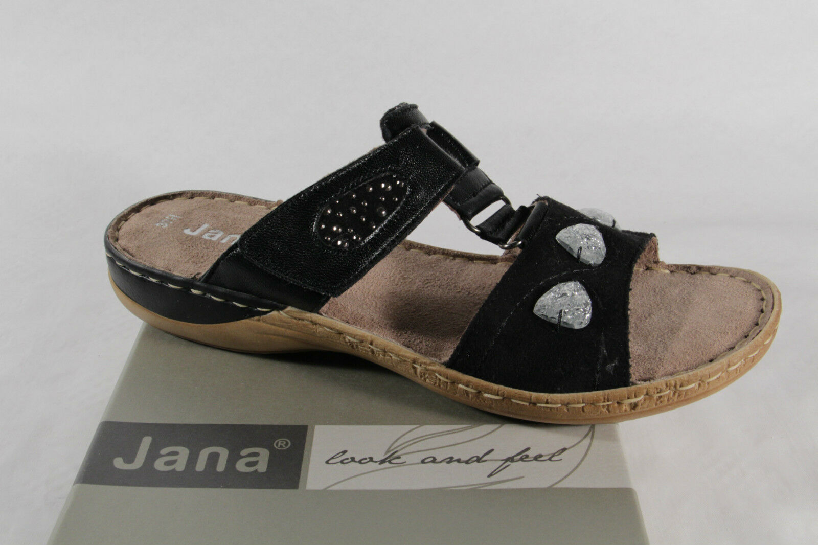 Aetrex Tamara Black Leather Comfort Comfort Leather Thong Sandal NEW 4692d3