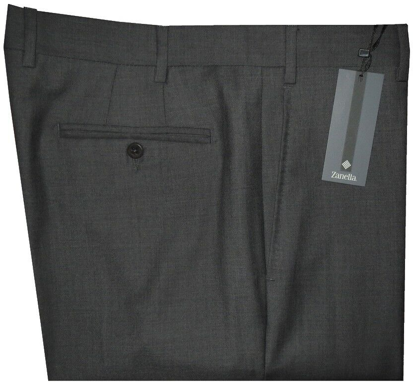 NEW ZANELLA DEVON SOLID DARK CHARCOAL SUPER 120'S WOOL MENS DRESS PANTS 35