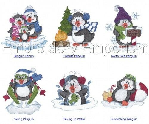MACHINE EMBROIDERY DESIGNS ON CD OR USB PLAYFUL PENGUINS COLLECTION