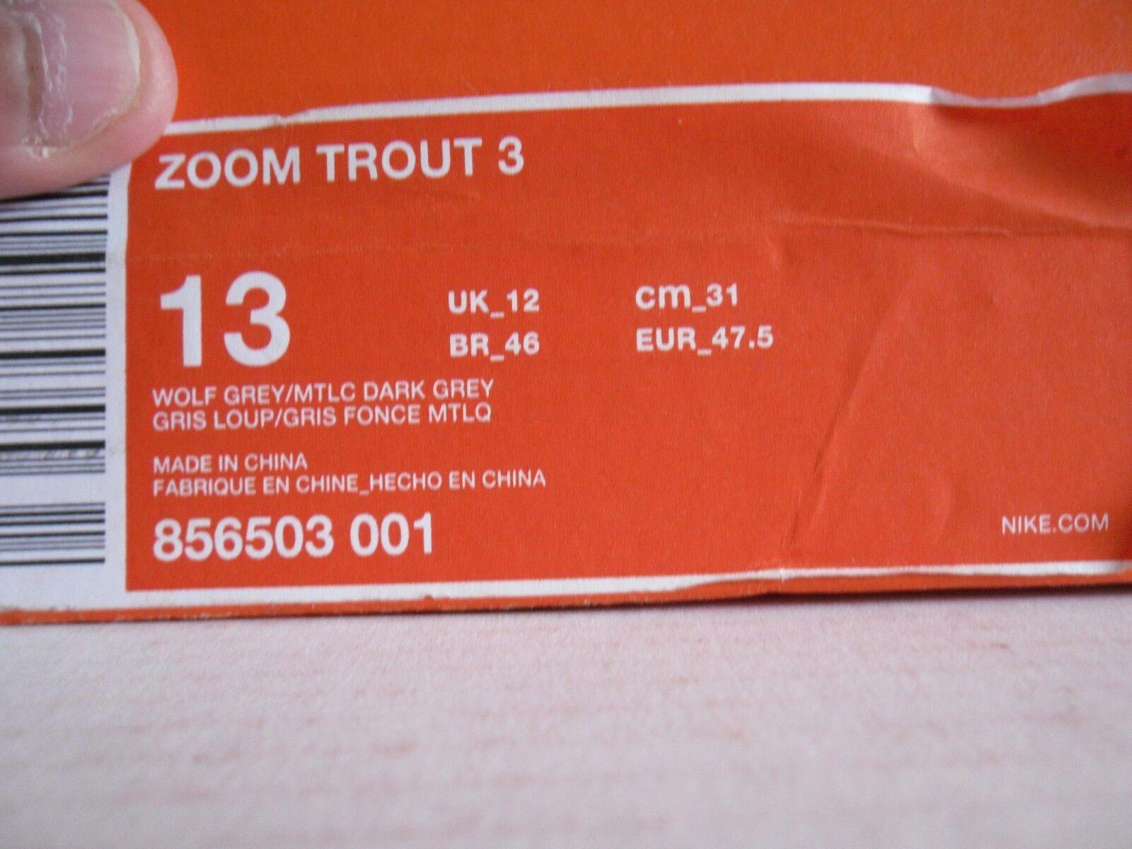 NIKE ZOOM TROUT SZ 3 WOLF gris -METALLIC DARK gris SZ TROUT 13 CLEATS c9130f