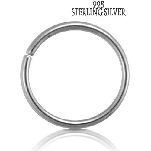 Solid 925 SILVER seamless ring,cartilage,nose,lips,brow,16,18,20g,8,10,12dia