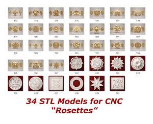 34-3d-STL-Models-034-Rosette-Collection-034-for-CNC-relief-artcam-3d-printer-aspire