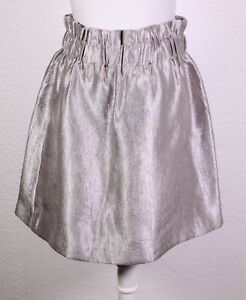 T55-35 H&M Rock Minirock silber Gr. 38 High Waist Stretchbund Viskose-Mix Taft