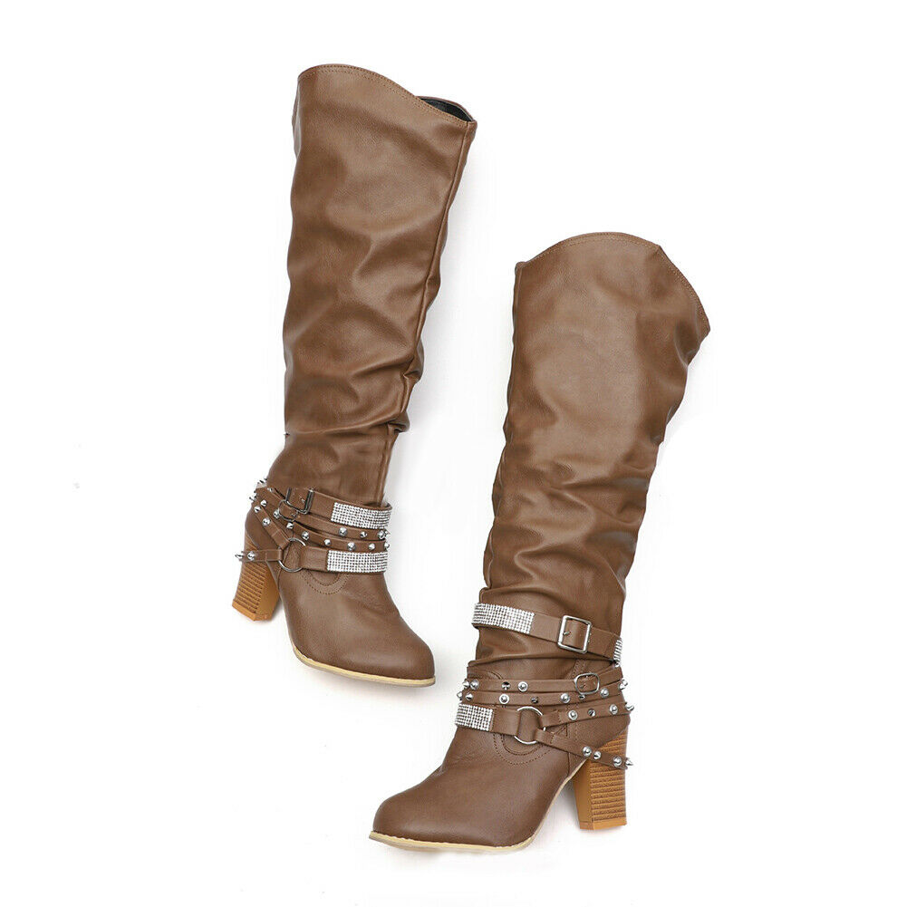 Details about  /Women Leather Buckle Knee High Boots Thick Heels Rhinestone Rivet Slip-On Shoes