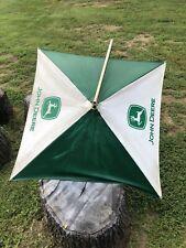 Vintage John Deere Canvas Tractor Umbrella Bracketsboom Green White Rare