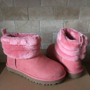 bde2e27a12a Details about UGG Mini Fluff Quilted Cuff Lantana Suede Sheepskin Boots  Size 8 Womens