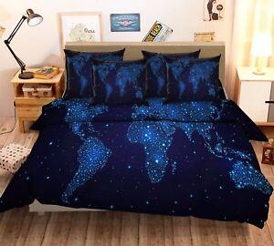 3d stars world map 52 bed pillowcases quilt duvet cover set single image is loading 3d stars world map 52 bed pillowcases quilt gumiabroncs Images
