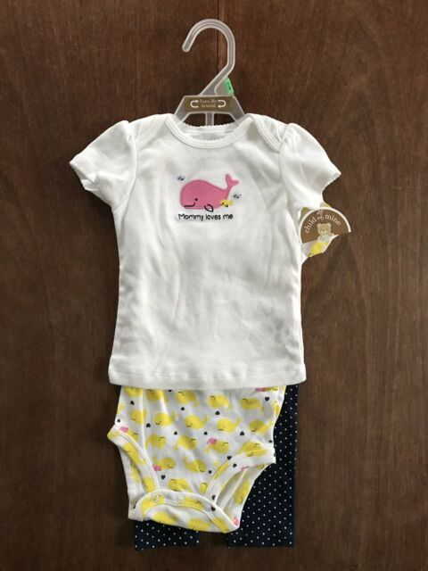 a849353d51b3 Carter's Child of Mine 6-9 Months Baby Girl 3 Piece Outfit Set Whale