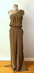 Parker 100% Silk One Shoulder Wide Leg Jumpsuit, Brown Size S
