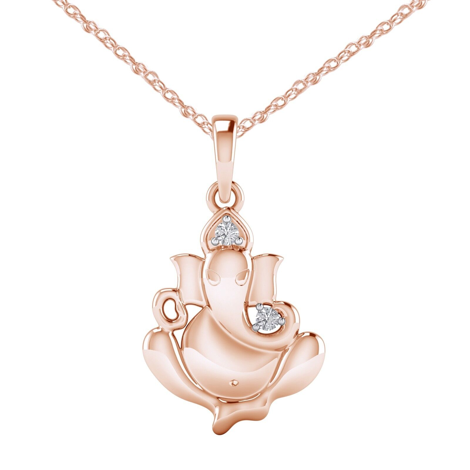 Natural 0.04 Ct Diamond 14K pink gold Finish Lord Ganesha Religious Pendant 18