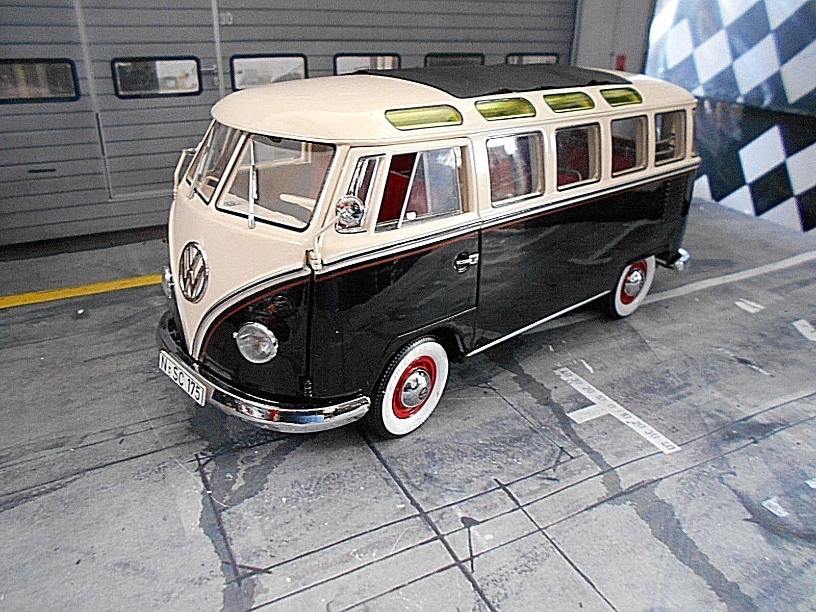 VW volkswagen t1 Bus Samba FENSTERBUS Noir Blanc Fenêtre Schuco Limited 1 18